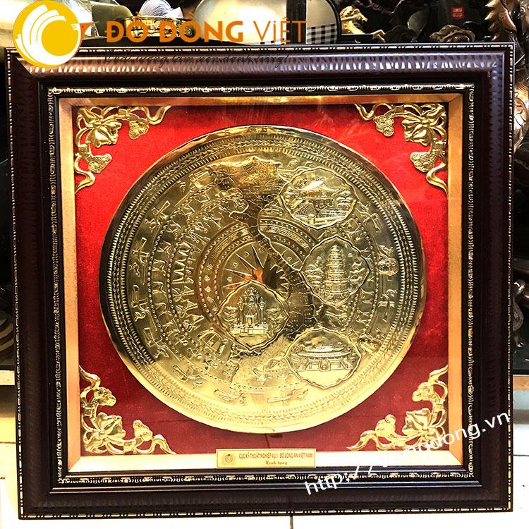 tranh trống đồng dk 40cm khung quà tặng độc đáo đẹp